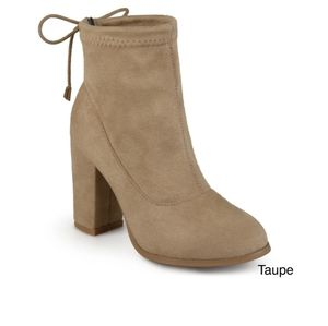 Taupe Block Heeled Sock Bootie New in Box